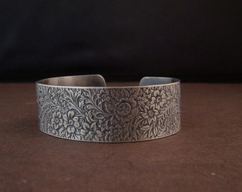 Sterling Silver Wide Floral Engraved Cuff
