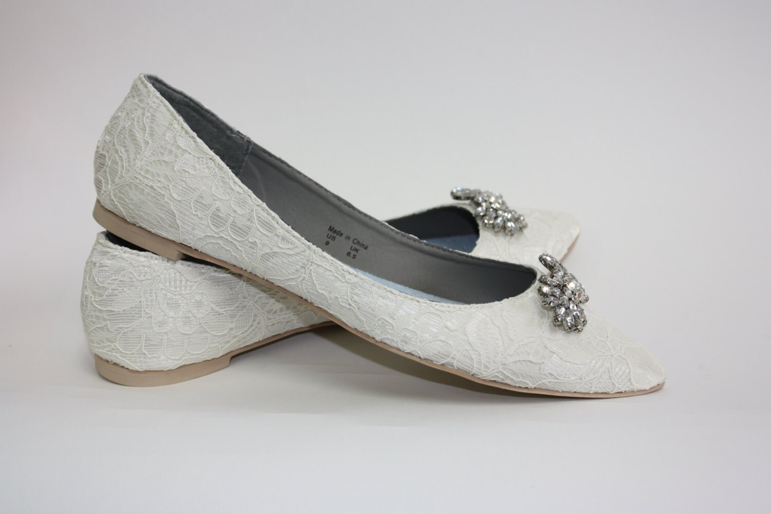 Wedding shoes lace flats lace wedding shoes crystals zoom junglespirit Choice Image