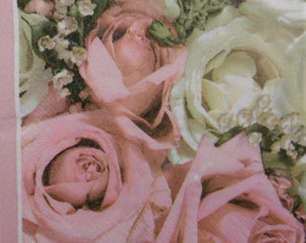 2 pink 25x25cm bouquet paper napkins (307)