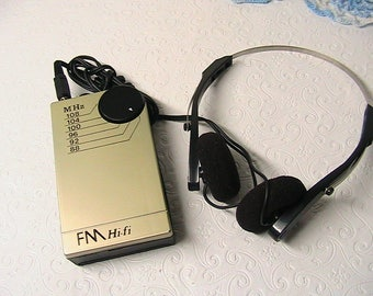 Transistor Radio and Headphones, FM Hi-Fi Hand Held Radio, Works