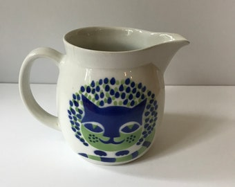1960s Arabia Finland Ceramic Cat Pitcher.  Kaj Franck Designed