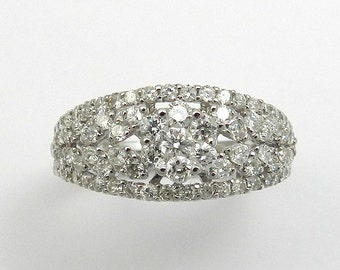 Natural Diamond Cluster Ring Solid 18KT White Gold