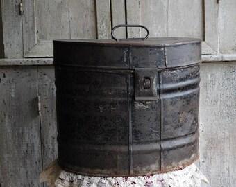 Antique Black Metal Hat Box, Travel Luggage, Primitive Antiques