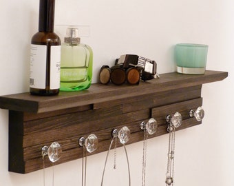 26 inches/6 knobs Jewelry Organizer With Shelf, Necklace Holder, Bracelet Holder, Expresso