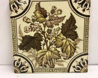 Antique Ceramic Tile Art Nouveau Victorian Aesthetic Style 1900