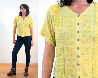90s Yellow India Blouse S, Boho Beaded Viscose Rayon Hippie Vintage Embroidered Top Small