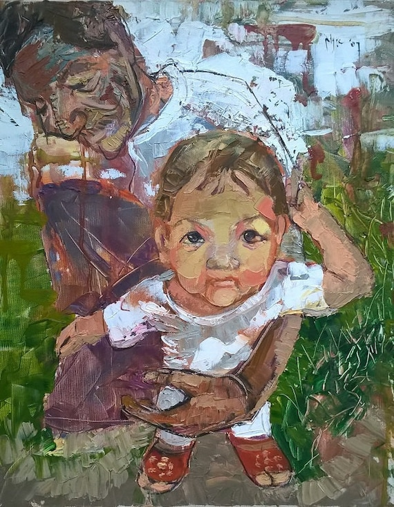 """GRANDCHILD 16x19"""" textured oil on canvas, live painting, Mekong Delta (Cần Thơ Province), original by Nguyen Ly Phuong Ngoc"""