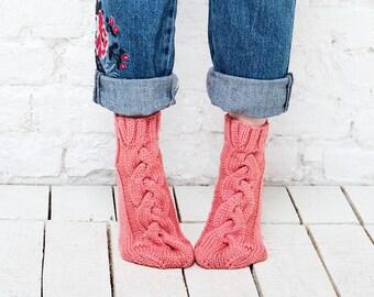 Pink knitted socks Womens pink socks Hand knitted socks 100% wool socks  Handmade womens socks Home slipper socks Pink merino wool socks
