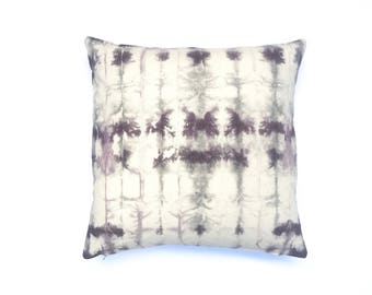Tie Dyed Black Cherry Grey Pillow Cover 20 x 20 Purple Gray Hand Dyed Pillow Grey Throw Pillow Shibori Pillow Living Room Boho Pillow 10