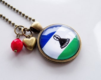 Flag of Lesotho Necklace - Lesothian Flag - World Flags - Patriotic Pendant - African Flag - Custom Jewelry - Travel Necklace - Flag Jewelry
