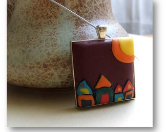 Modern Jewelry- Houses Jewelry- Colorful Houses Jewelry- Houses Polymer Clay Jewelry- Modern Pendant- Colorful Houses Pendant