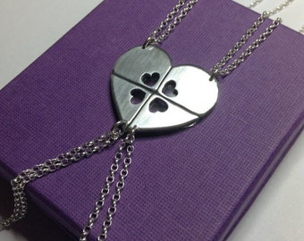 Best Friend Necklace for 4 Heart Shaped Jigsaw Puzzle