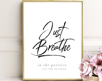 Just Breathe poster print yoga zen buddha Pilates  Pilates exercise relaxation health technique art quote topography sale