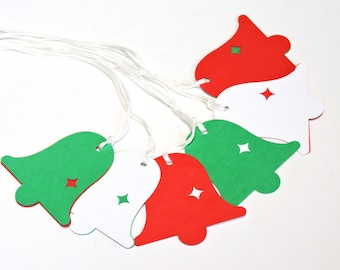 Christmas Gift Tags, Bell Die Cuts, Red Green Holiday 2-Piece Hidden Message Paper Package Labels, Wedding Party Place Cards itsyourcountry