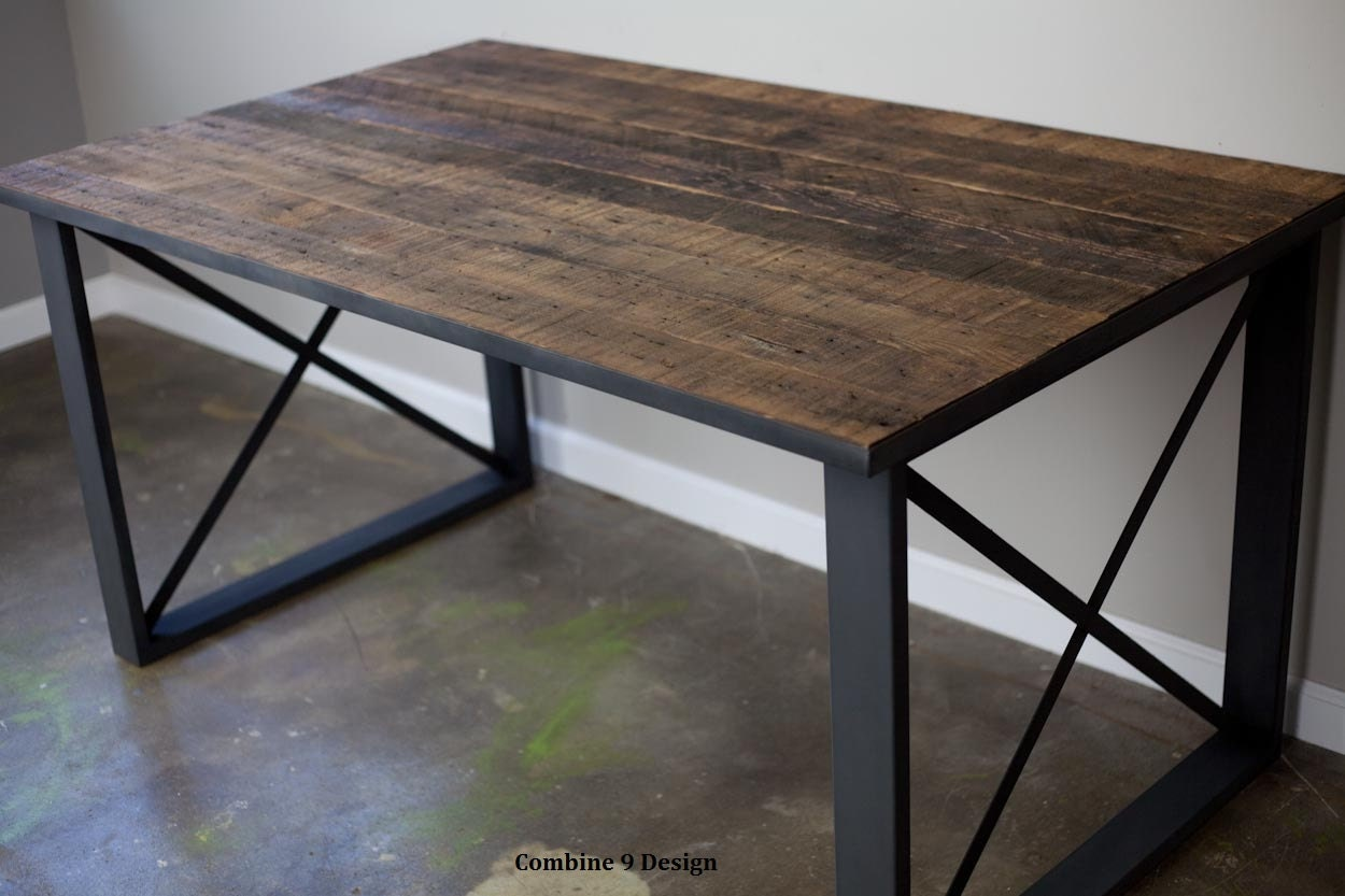 Reclaimed Wood Desk Industrial Dining Talbe Modern
