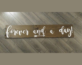"Forever And A Day Rustic wooden sign 48"" x 10"" wall hanging wood"