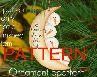 EPATTERN, 0001 snowman moon christmas ornament, painting pattern, tole painting pattern, folk art , decorative painting, primitive pattern,