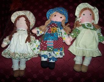"Set of 3 Holly Hollie Hobbie Hobby Heather Amy Rag Doll 9"" Tall"
