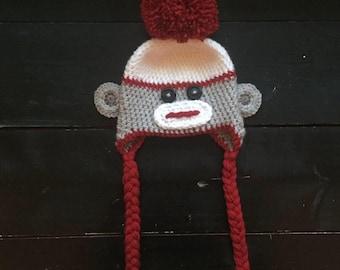 Crochet Sock Monkey Hat, Sock Monkey Hat, Newborn Sock Monkey Hat, Sock Monkey Props, Sock Monkey, Baby Sock Monkey Hat