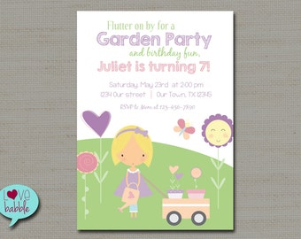 Easter, Garden Gardening Party, Spring, Girl Birthday Invitation - PRINTABLE DIGITAL FILE 5x7