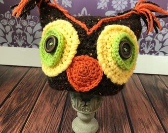 Crochet Brown Toddler Owl Hat