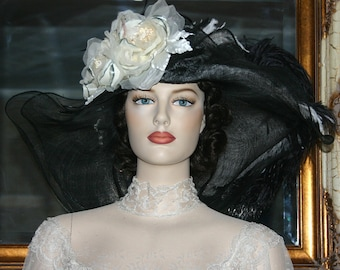 Black & Ivory Kentucky Derby Hat, Ascot Hat, Edwardian Hat, Downton Abbey Hat, Wide Brim Hat - Petunia Petals