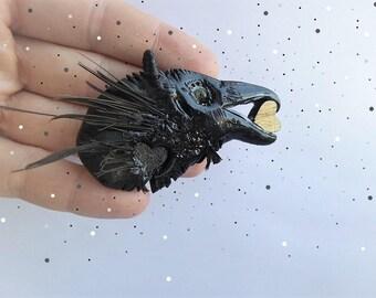 Pendant RAVEN HEART - handmade raven pendant with wood heart in beak.