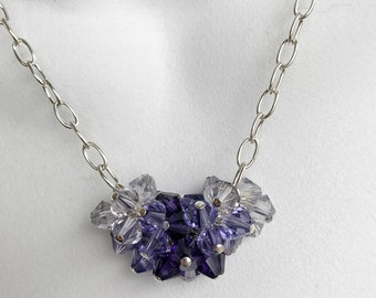Purple crystal cluster necklace earring set