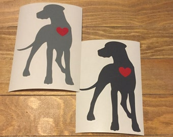6 Inch Natural Ear Great Dane/ Gentle Giant Vinyl Decal