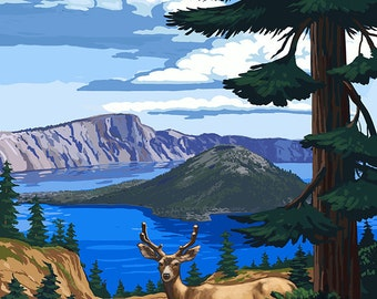 Crater Lake National Park, Oregon - Deer Family (Art Prints available in multiple sizes)