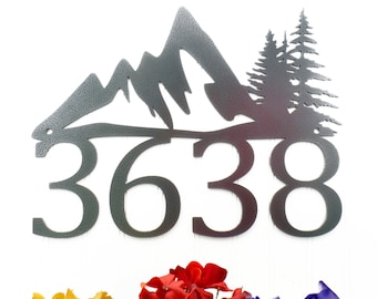 Custom Outdoor Mountain House Number Metal Sign - Silver, 17x13, Pine Tree, Metal Sign, Address Plaque, Outdoor Sign