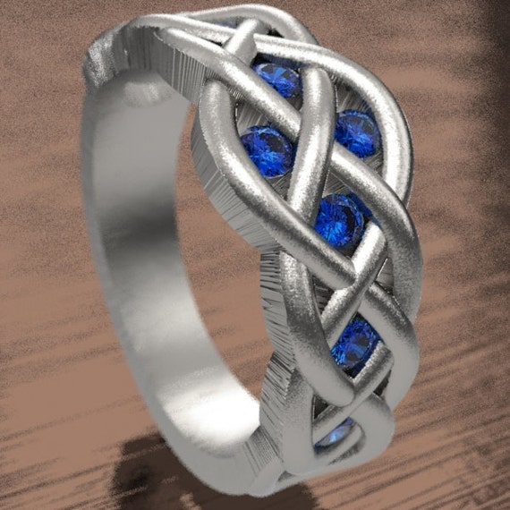 Celtic Sapphire Wedding Ring With Woven Knotwork Design in Sterling Silver Made in Your Size CR-764