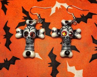 Rhinestone skull and bones cross earrings