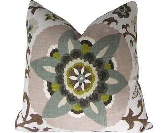 Custom Pillow Cover / Silsila by Braemore in Rhinestone Brown Grey Blue Green Suzani / Both Sides / Made to Order