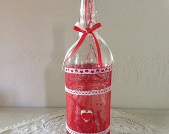 Red love bottle lamp