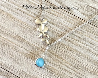 Silver Cascading Orchid Flowers Gem Lariat Necklace, Create your own, Choose from 32 different gems, handmade jewelry, mom, graduation