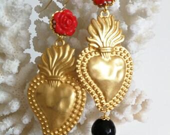 Sacred Heart and roses earrings, onyx gemstone Earrings