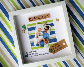 Father's fathers day handmade personalised gift photo frame dad daddy grandad