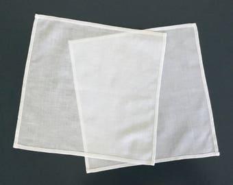 2 Vintage Hankies,  Ladies Handkerchief, White Hankies, Hemstitched, 1960s, Unused