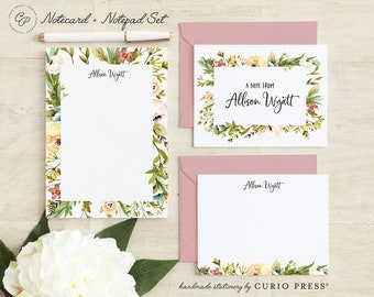 Personalized Stationery Set / Notecard and Notepad Stationary Set / Cute Women's Pretty Floral Cards // MEADOW FRAME 3-SET