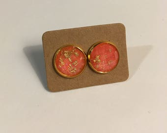 Gold Fleck Earrings on Gold Colored Studs