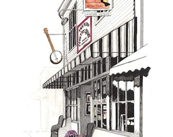 """Floyd Country Store, Streetscape, Pen & Ink and Watercolor, """"The Floyd Country Store"""" (Reproduction)"""