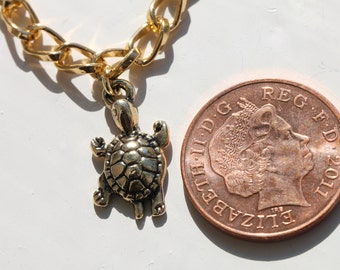 Handmade Gold Plated Turtle Charm Bracelet with Chunky Chain
