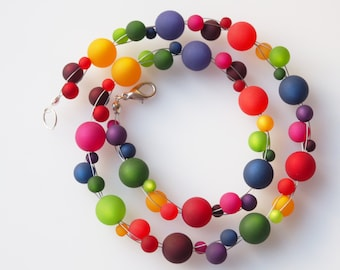 rainbow necklace long version long necklace colorful necklace long rainbow necklace