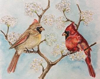 Cardinals Watercolor Painting