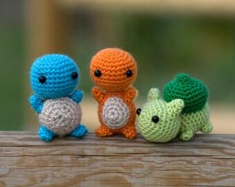 First Generation Pokemon amigurumi - Charmander amigurumi - Squirtle amigurumi - Bulbasaur Amigurumi - Amigurumi Pokemon - Pokemon Crochet