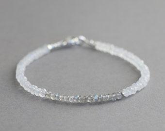 Labradorite and Moonstone Bracelet With Karen Hill Silver Gemstone Bracelet Stacking Bracelet