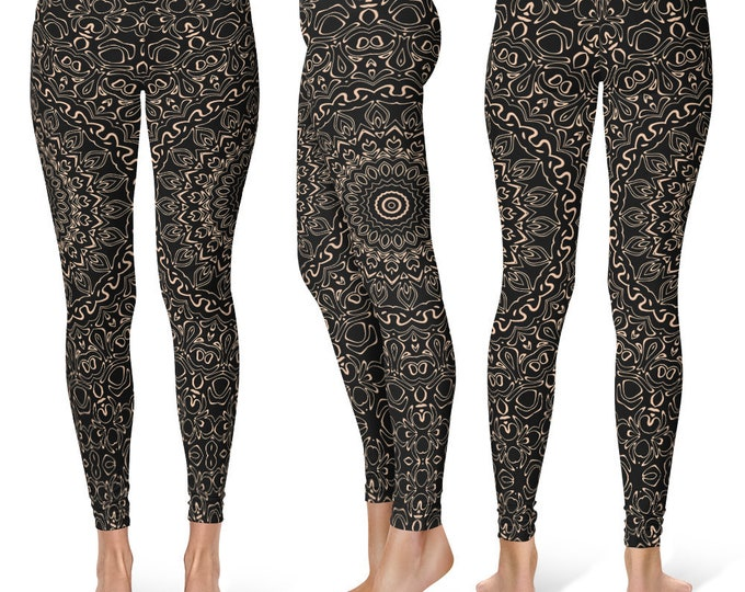 Apricot Yoga Pants, Black Leggings with Peach Mandala Designs for Women, Printed Leggings, Pattern Yoga Tights