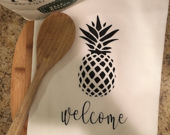 Flour sack towels, Tea towels, Personalized, Customized, Kitchen towel, Monogrammed, Pineapple decor