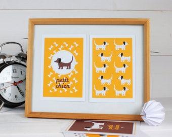 """Set of four illustrations for children """"Little dog"""""""